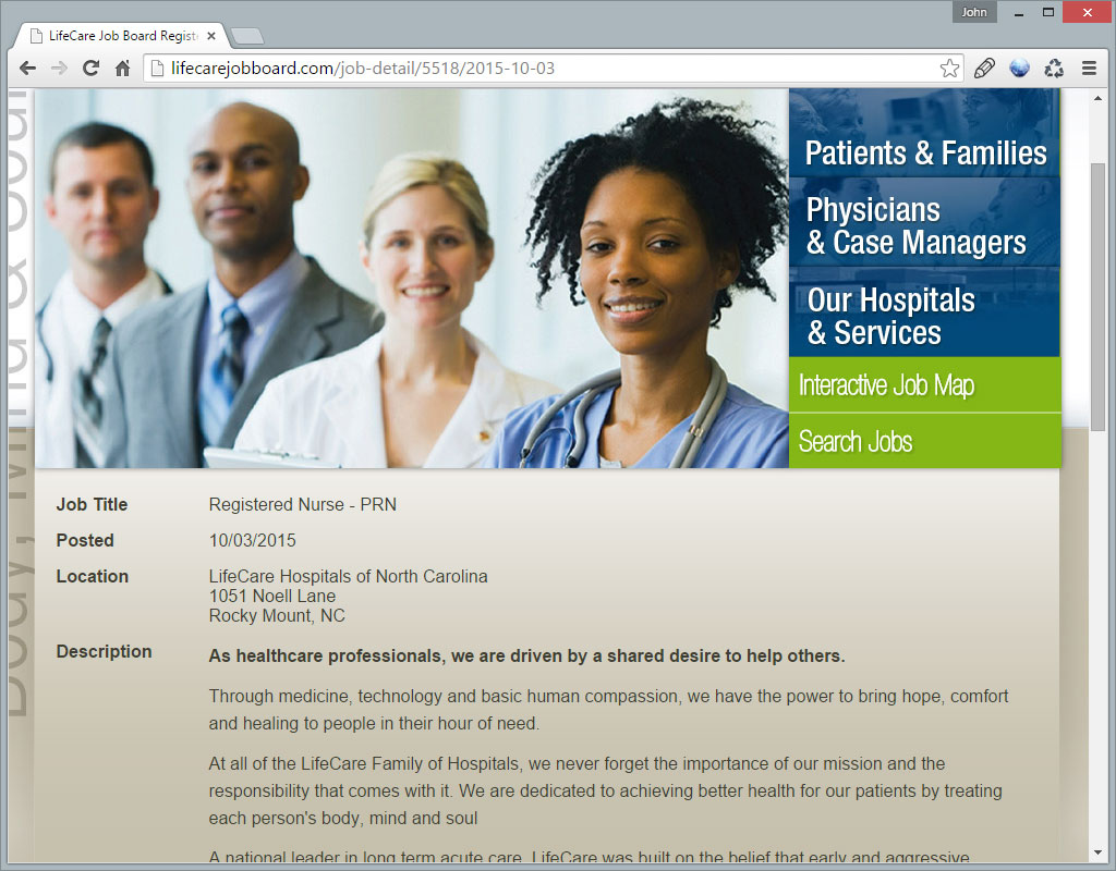 LifeCare Family of Hospitals Job Details